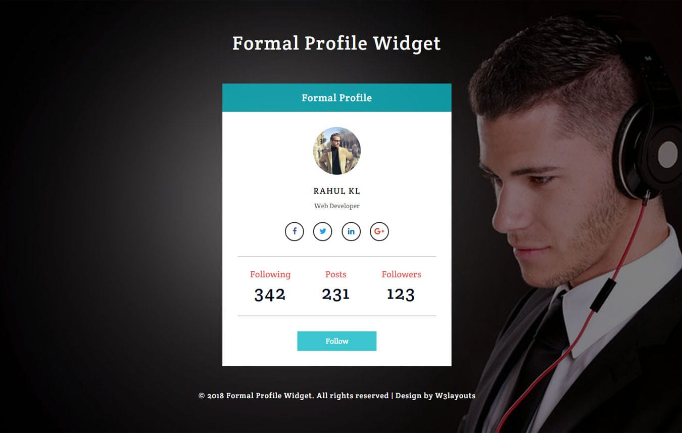 Formal Profile Widget Flat Responsive Widget Template Mobile website template Free