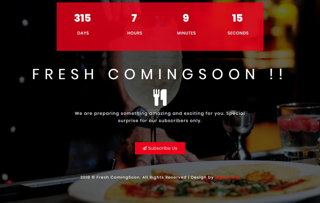 Fresh Coming Soon Flat Responsive Widget Template Mobile website template Free