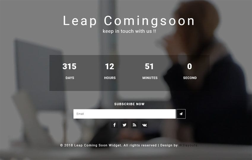 Leap Coming Soon Flat Responsive Widget Template Mobile website template Free