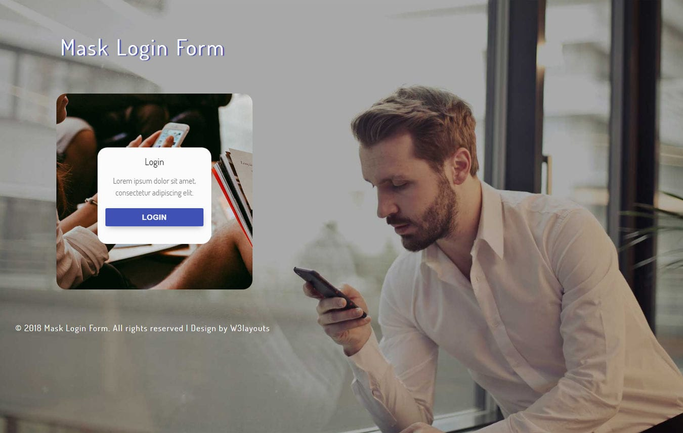 Mask Login Form Flat Responsive Widget Template