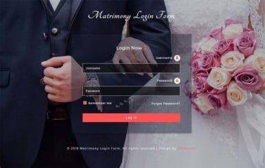Matrimony Login Form Responsive Widget Template