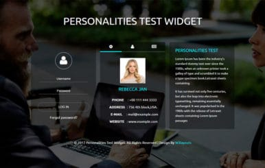 Personalities Test Widget a Flat Responsive Widget Template