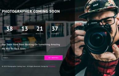 Photographer Coming Soon Responsive Widget Template