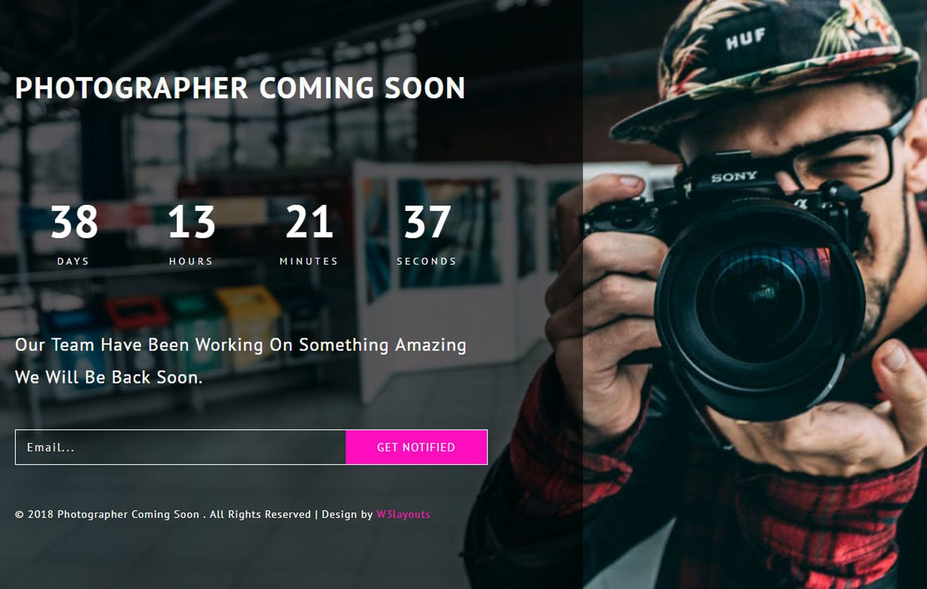 Photographer Coming Soon Responsive Widget Template