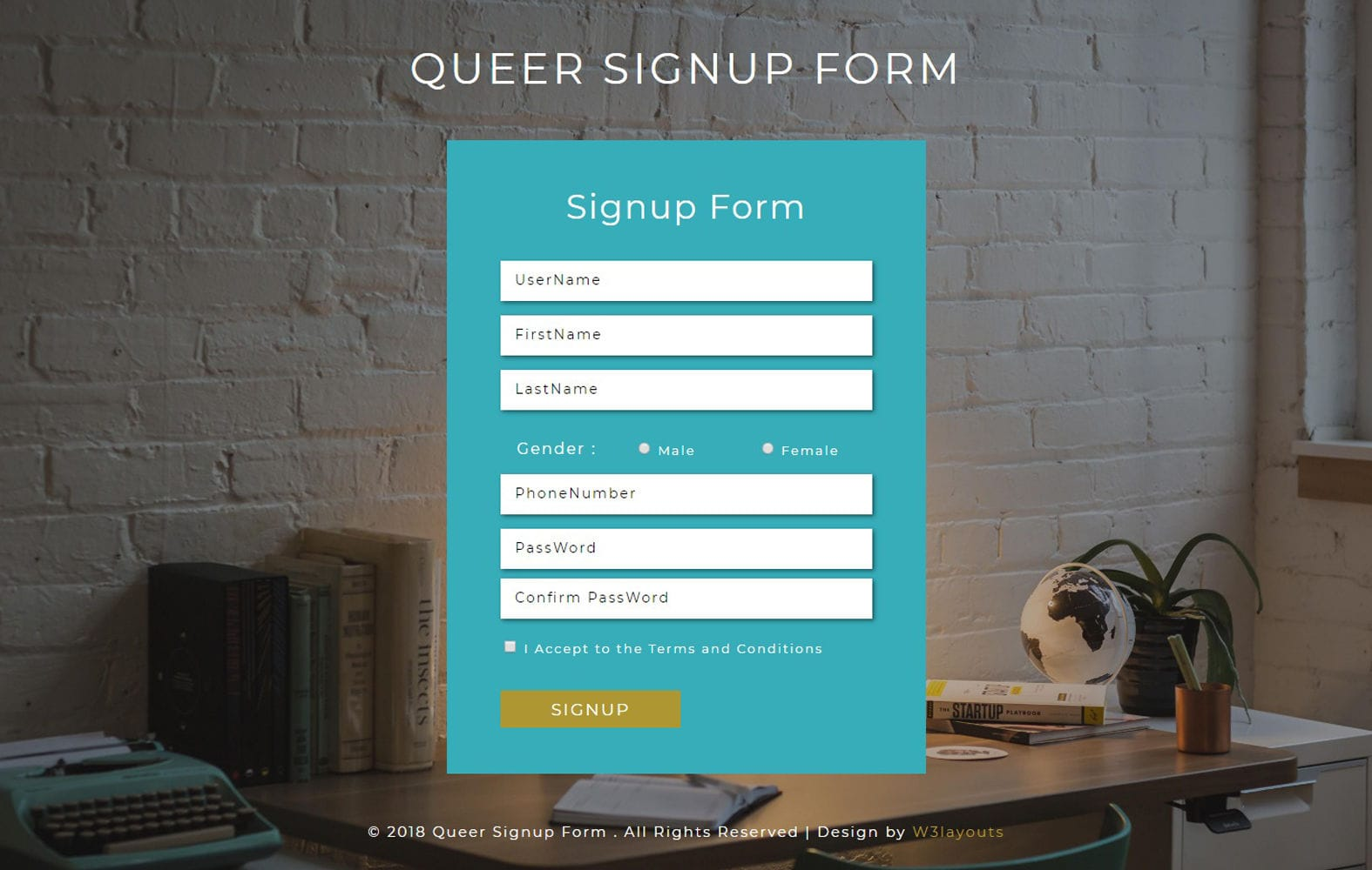 Queer Signup Form Responsive Widget Template