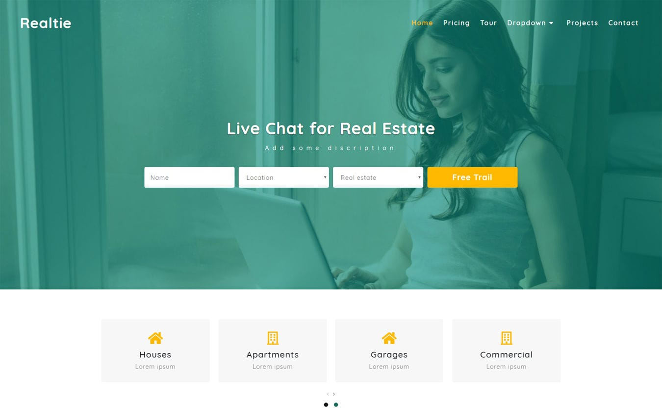 Realtie Real Estate Category Bootstrap Responsive Web Template Mobile website template Free