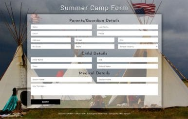 Summer Camp Form a Flat Responsive Widget Template
