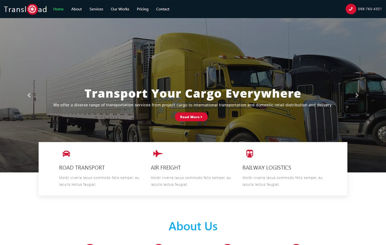 Trans load a Transport Category Bootstrap Responsive Web Template