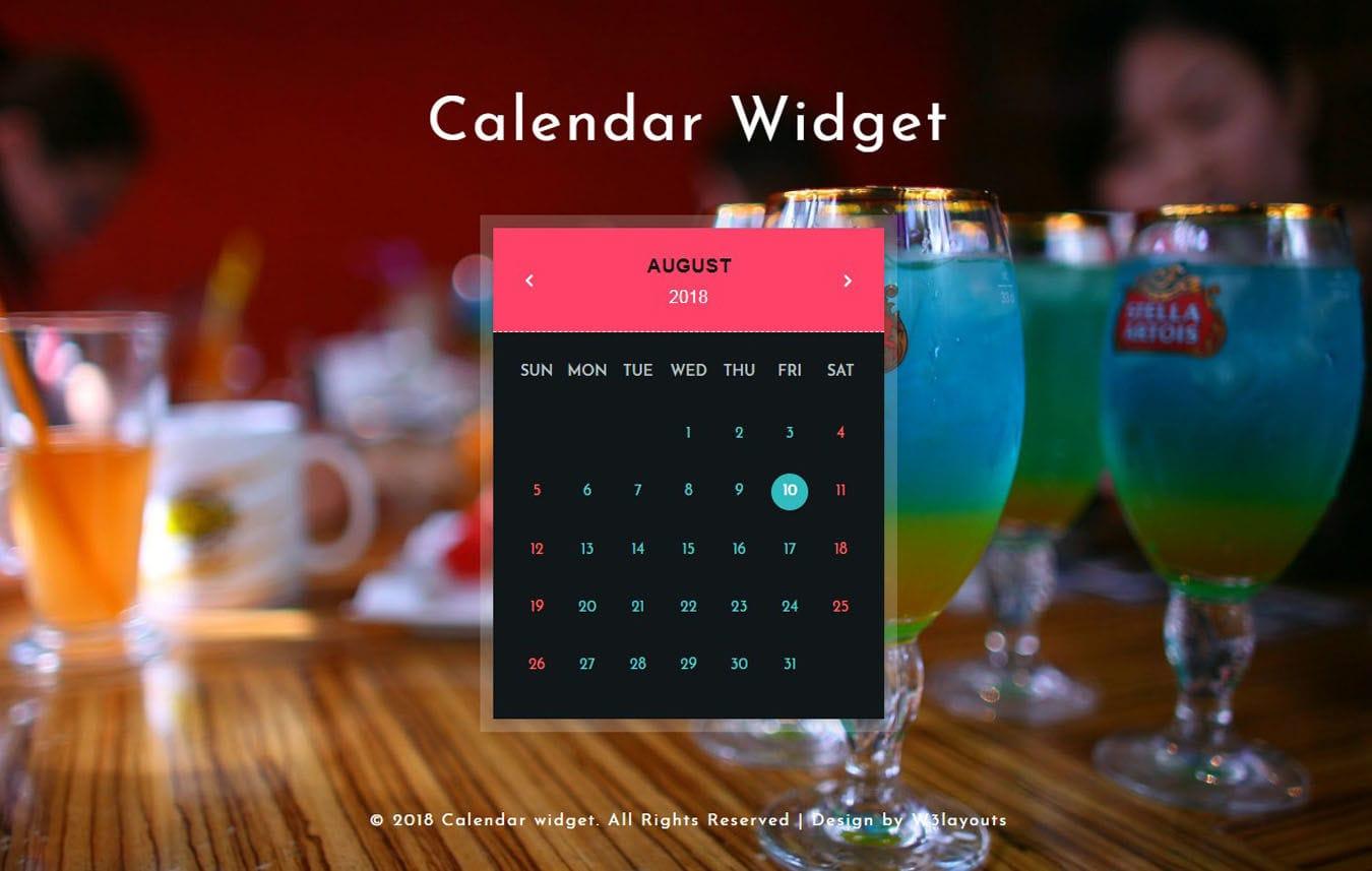 Calendar Widget Flat Responsive Widget Template. Mobile website template Free