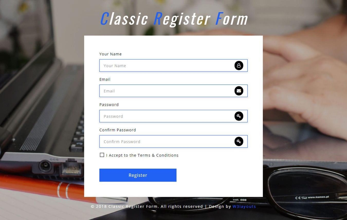 Classic Register Form Responsive Widget Template