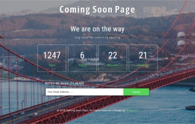 Coming Soon Page Flat Responsive Widget Template