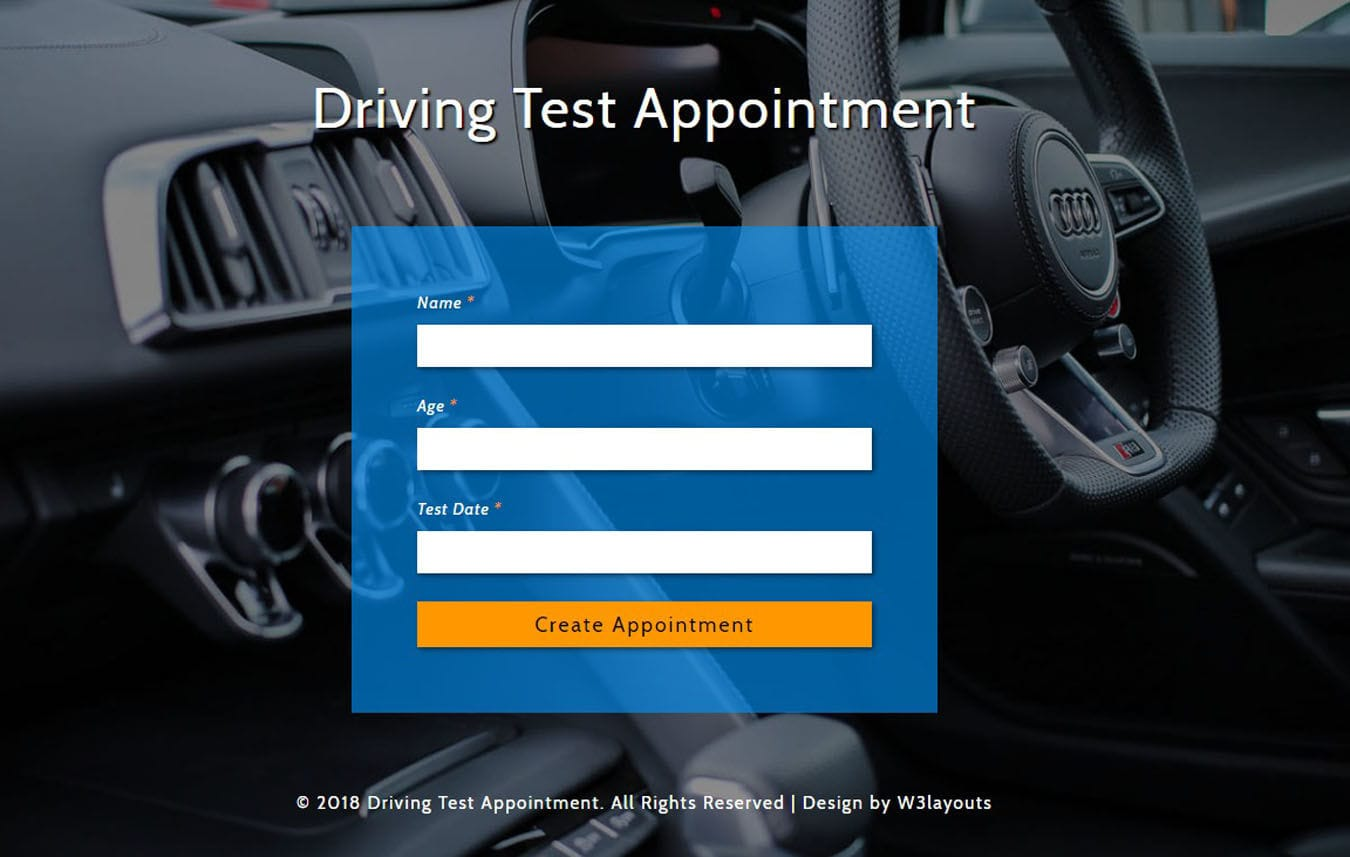 Driving Test Appointment Widget Flat Responsive Widget Template.