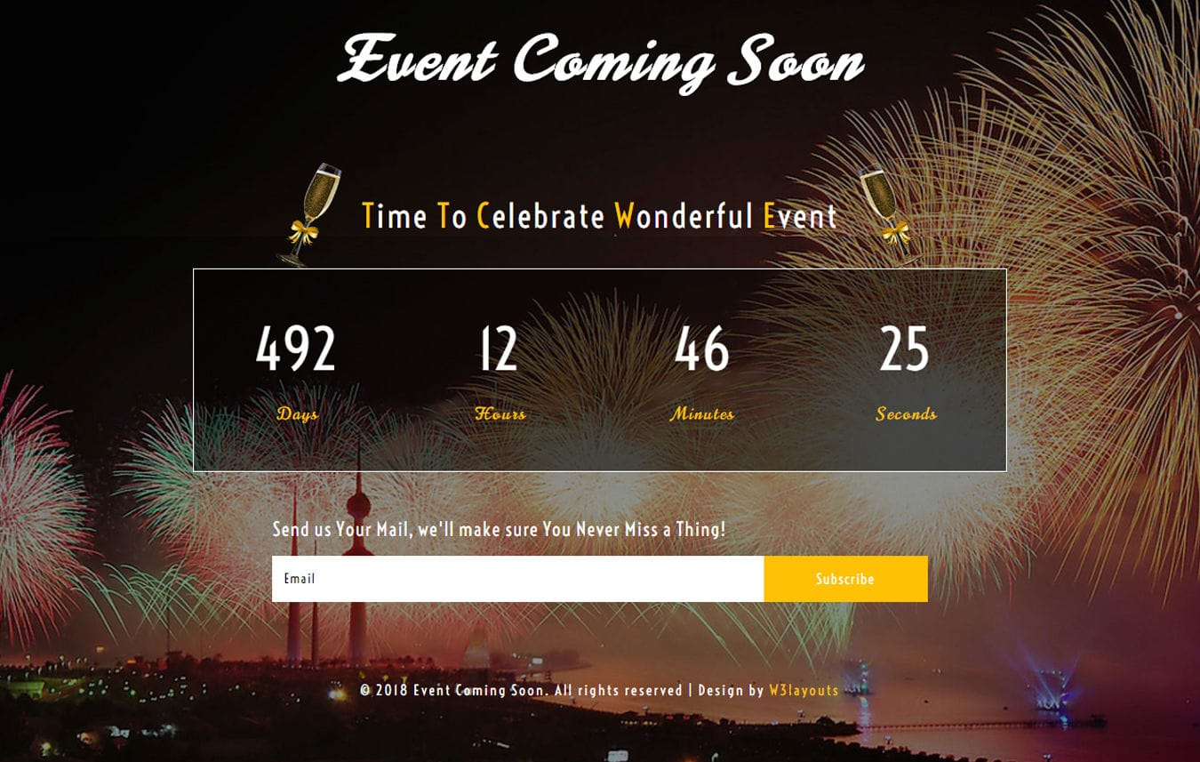 Event Coming Soon Responsive Widget Template Mobile website template Free