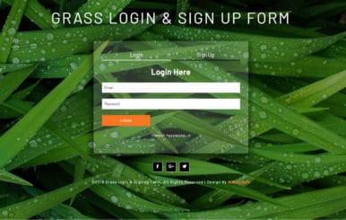 Grass Login & Sign Up Form a Flat Responsive Widget Template