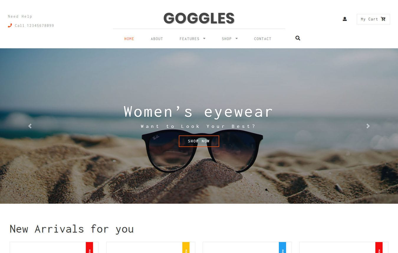 Goggles Ecommerce Category Bootstrap Responsive Web Template. Mobile website template Free