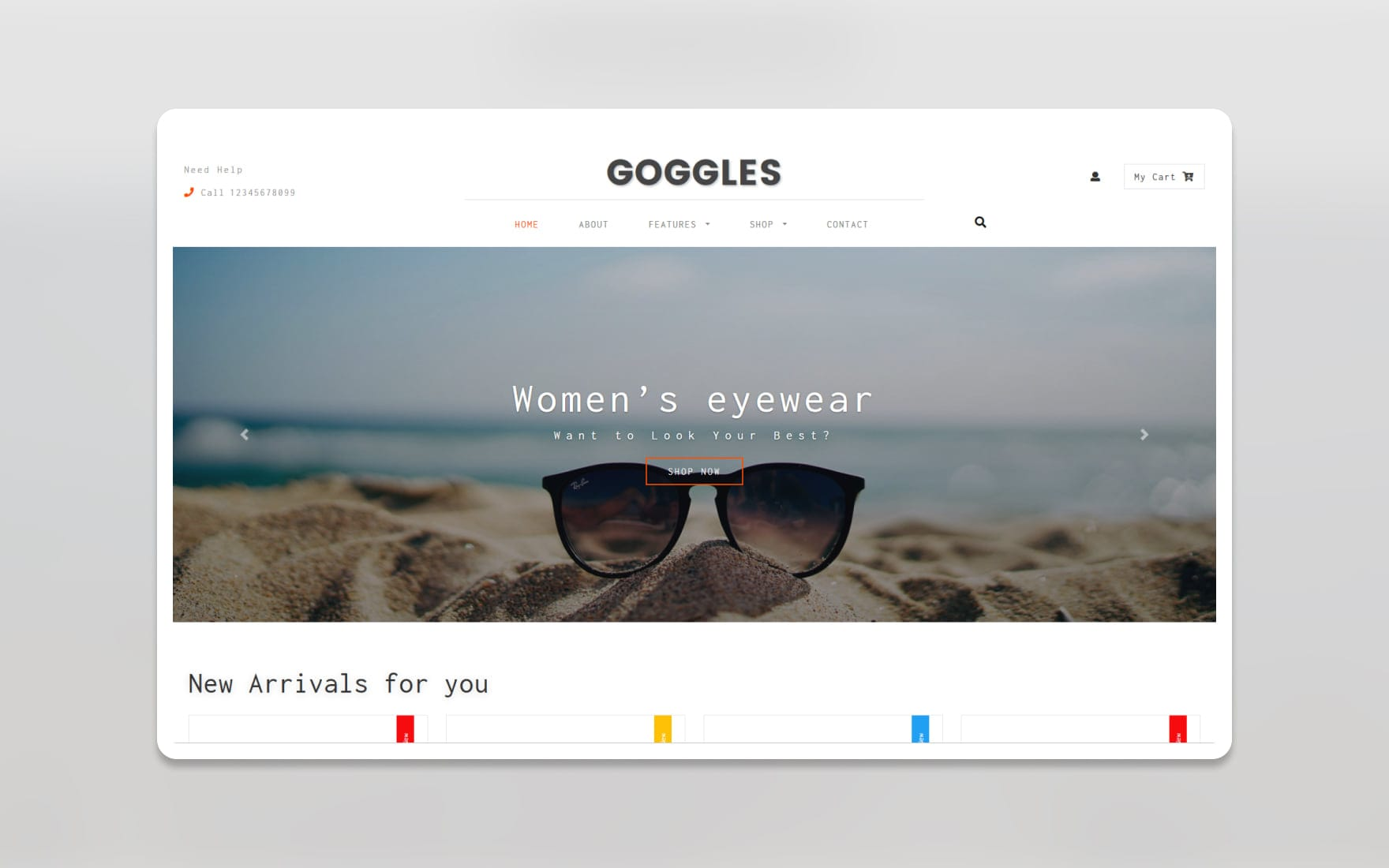Goggles Ecommerce Category Bootstrap Responsive Web Template.