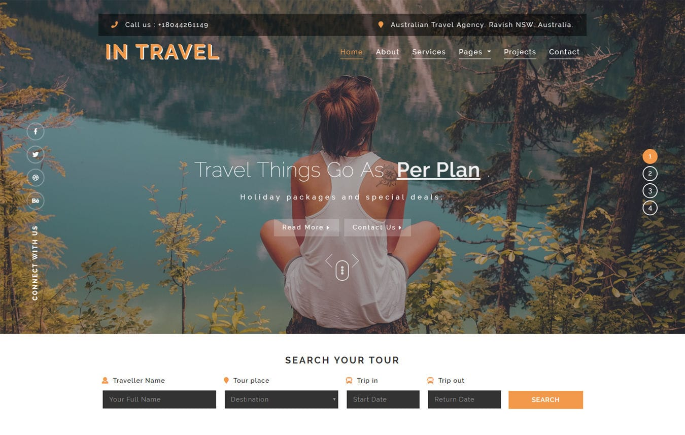 In-Travel Travel Category Bootstrap Responsive Web Template. Mobile website template Free