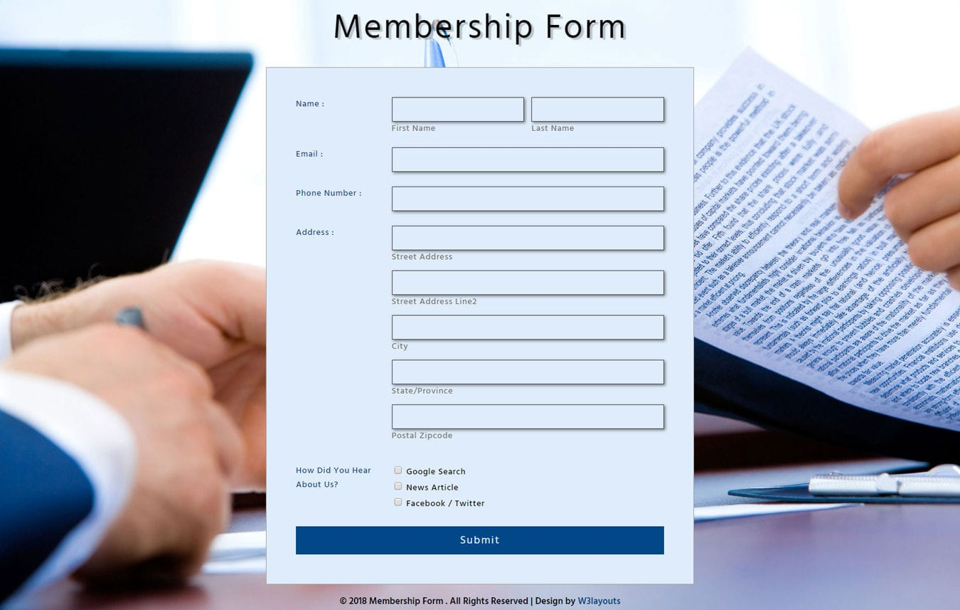 Membership Form Flat Responsive Widget Template Mobile website template Free