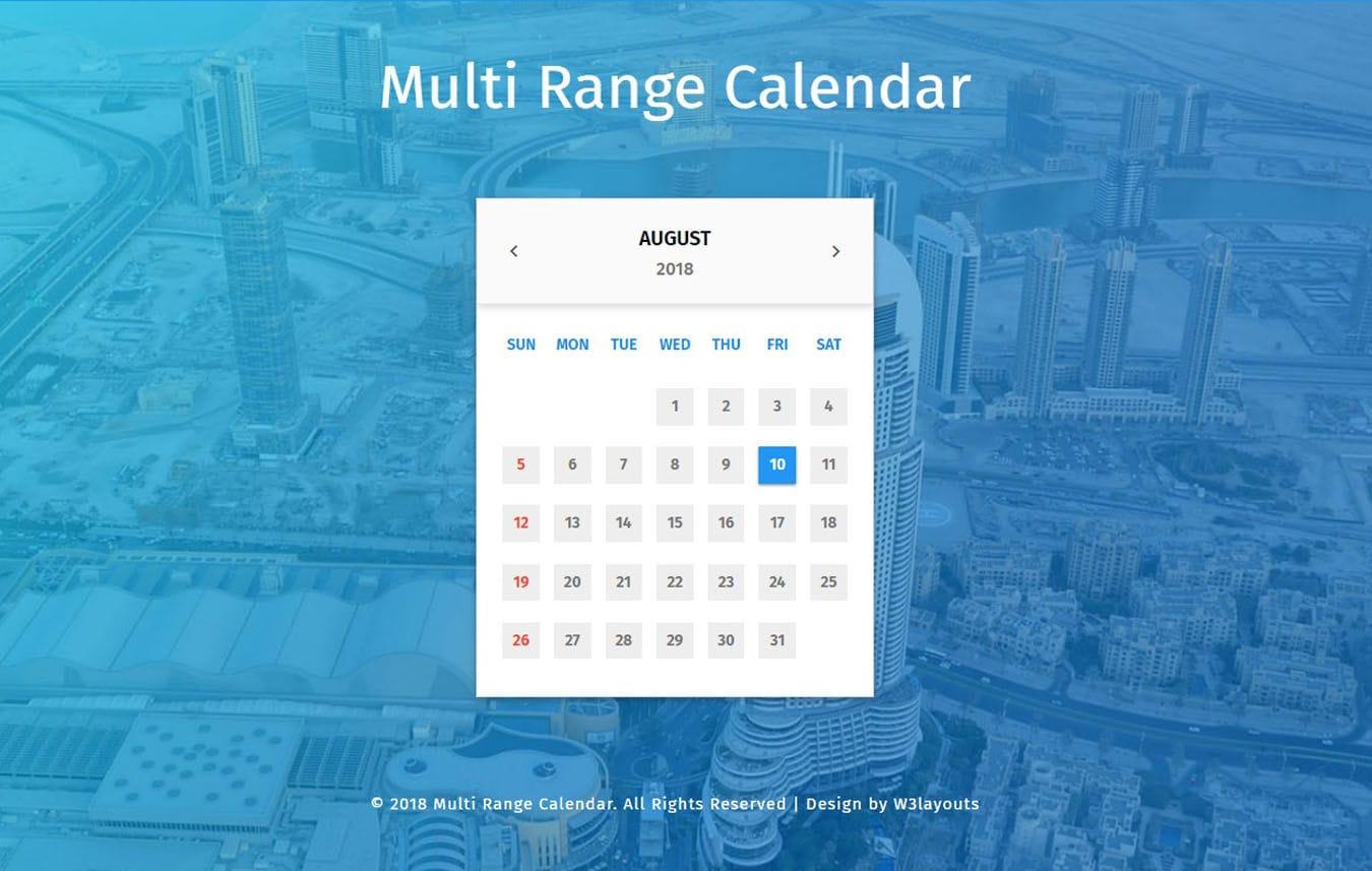 Multi Range Calendar Widget Flat Responsive Widget Template.