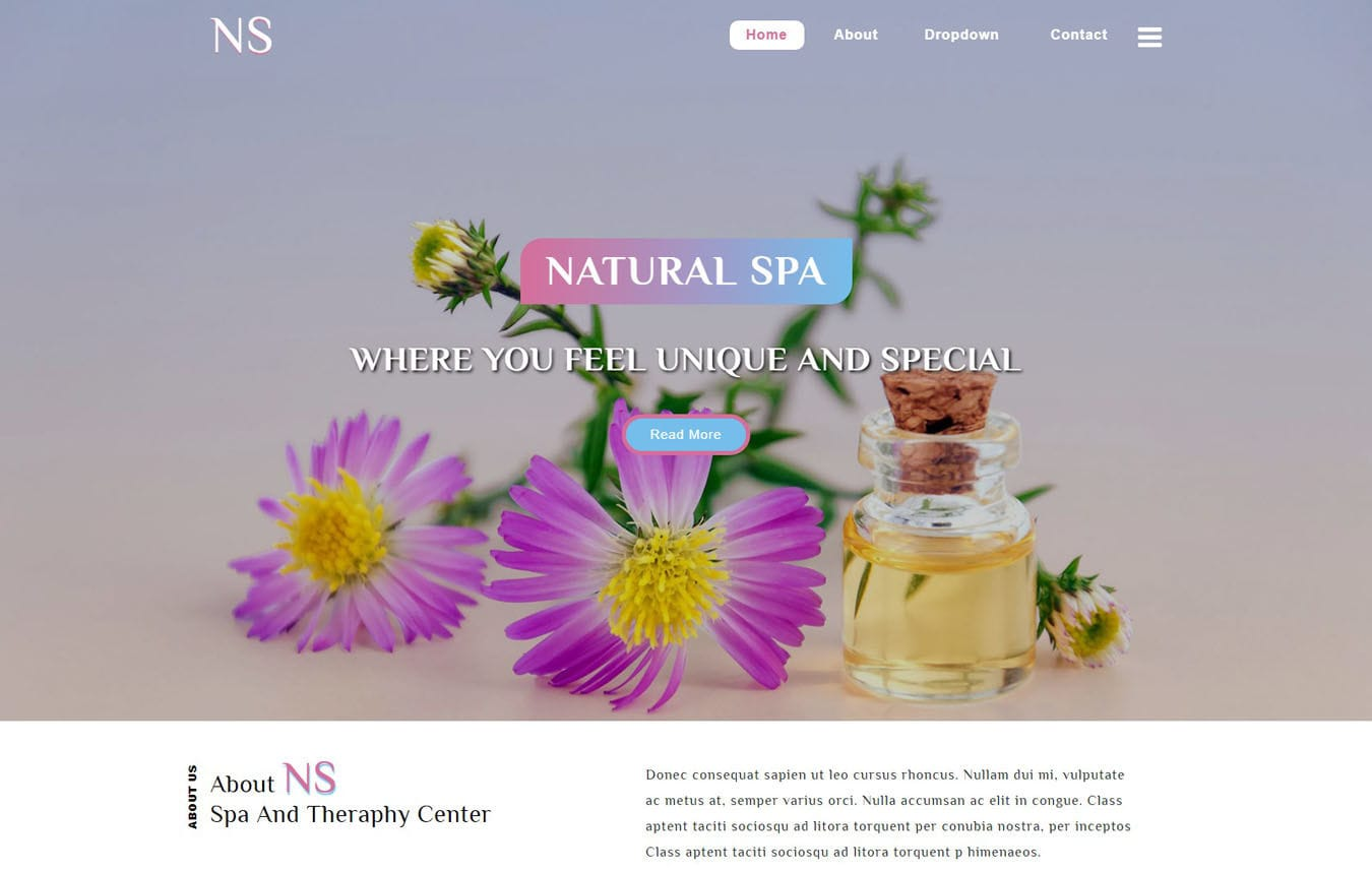 Natural Spa Spa Category Bootstrap Responsive Web Template. Mobile website template Free