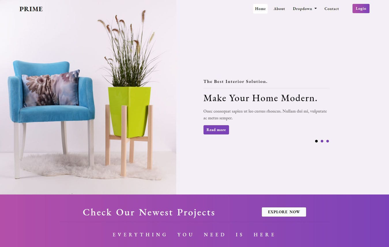 Prime Interior Category Bootstrap Responsive Web Template. Mobile website template Free