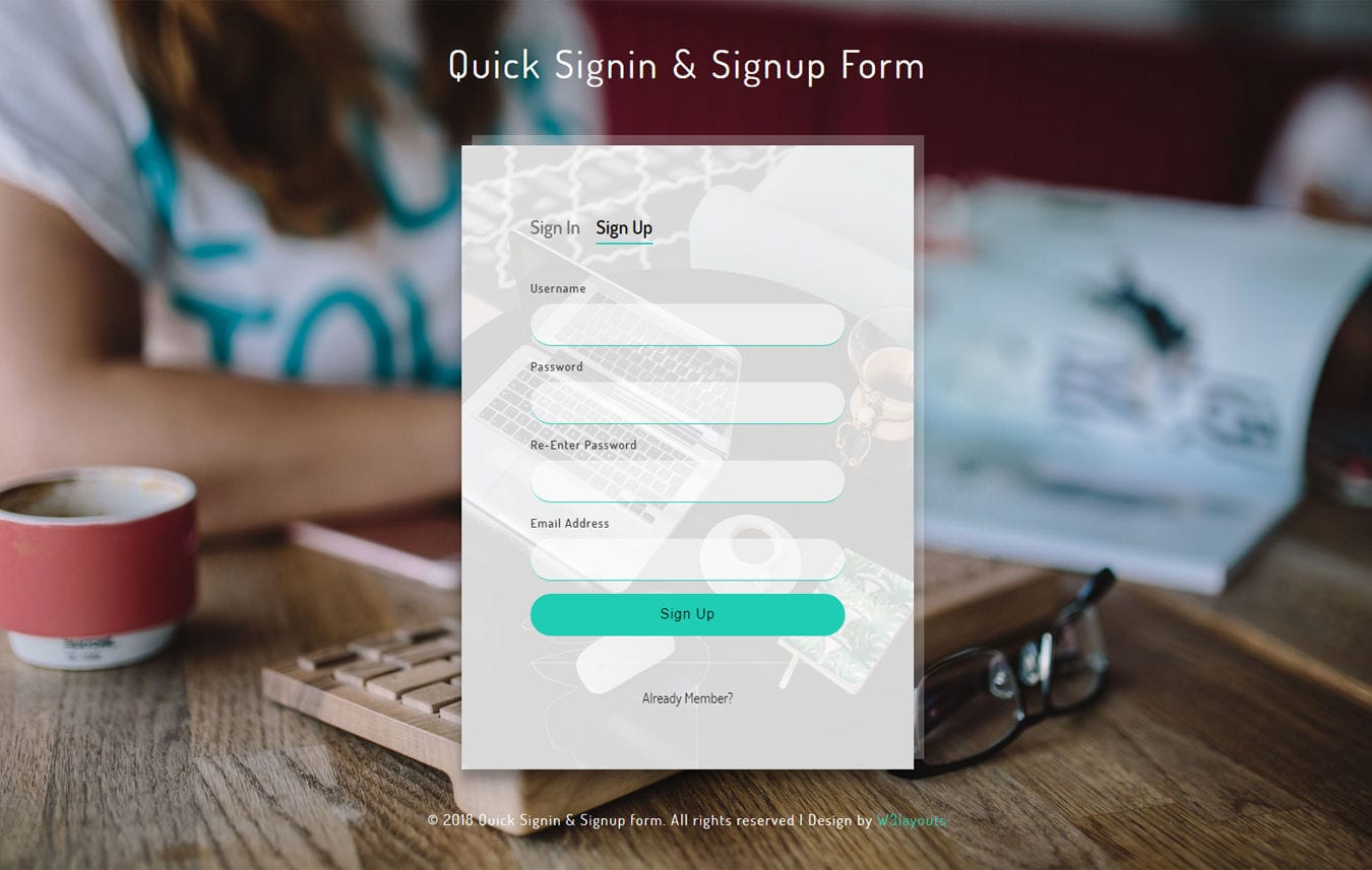 Quick Sign in and Signup Form Flat Responsive Widget Template