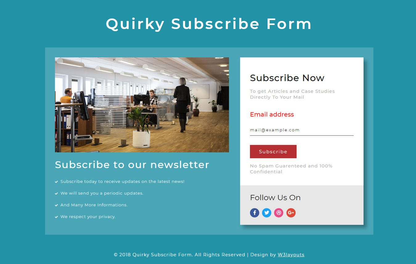 Quirky Subscription Form Responsive Widget Template Mobile website template Free