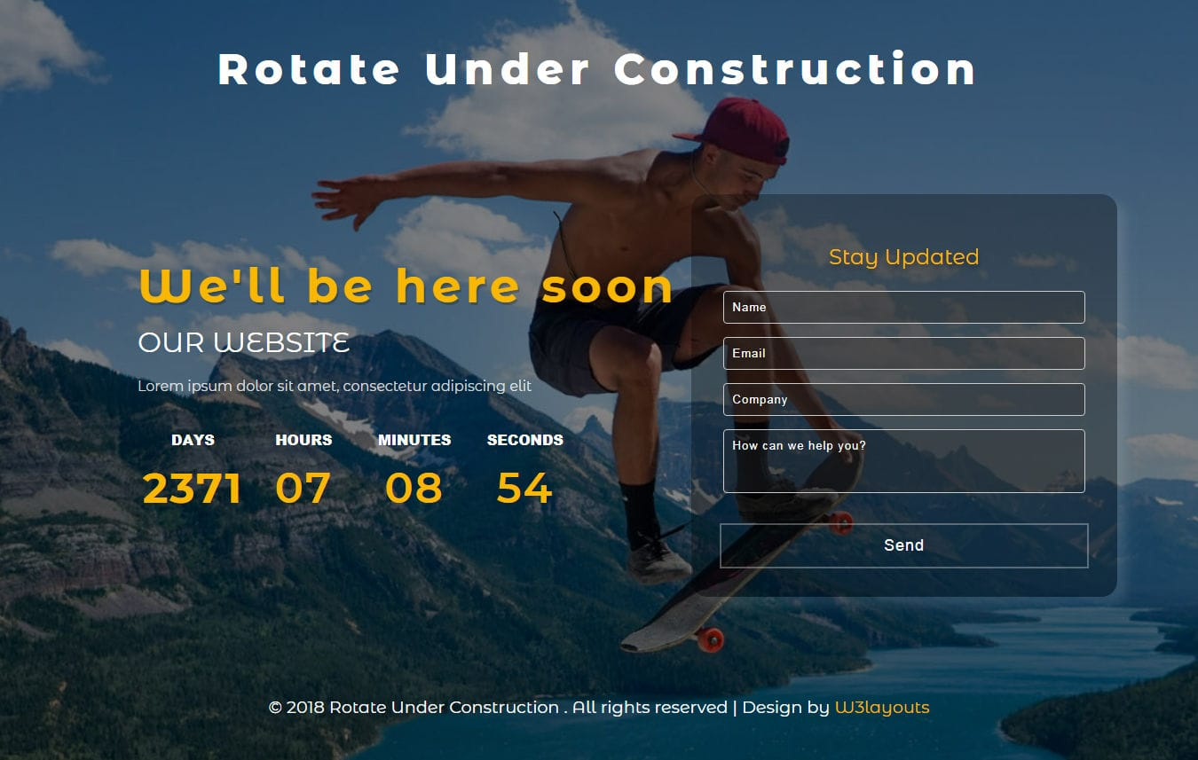 Rotate Under Construction Flat Responsive Widget Template
