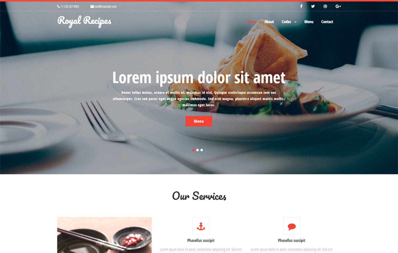 Royal Recipes a Hotels and Restaurants Category Flat Bootstrap Responsive Web Template Mobile website template Free