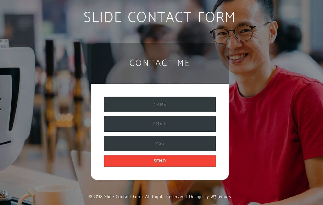 Slide Contact Form Flat Responsive Widget Template. Mobile website template Free
