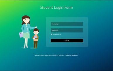 Student Login Form Flat Responsive Widget Template
