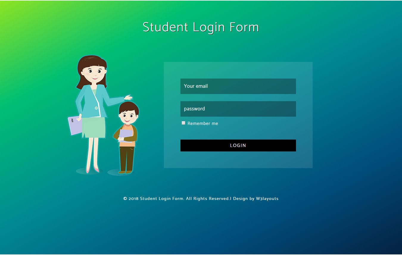 Student Login Form Flat Responsive Widget Template Mobile website template Free