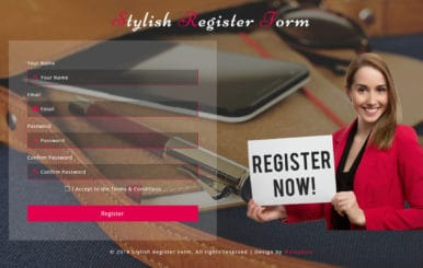 Stylish Register Form Responsive Widget Template