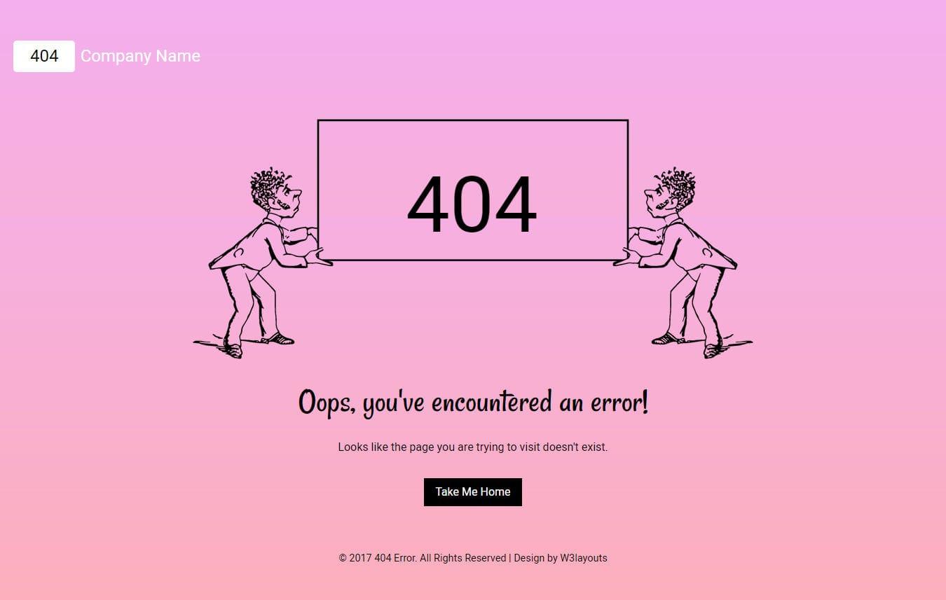 404 Error a Flat Responsive Widget
