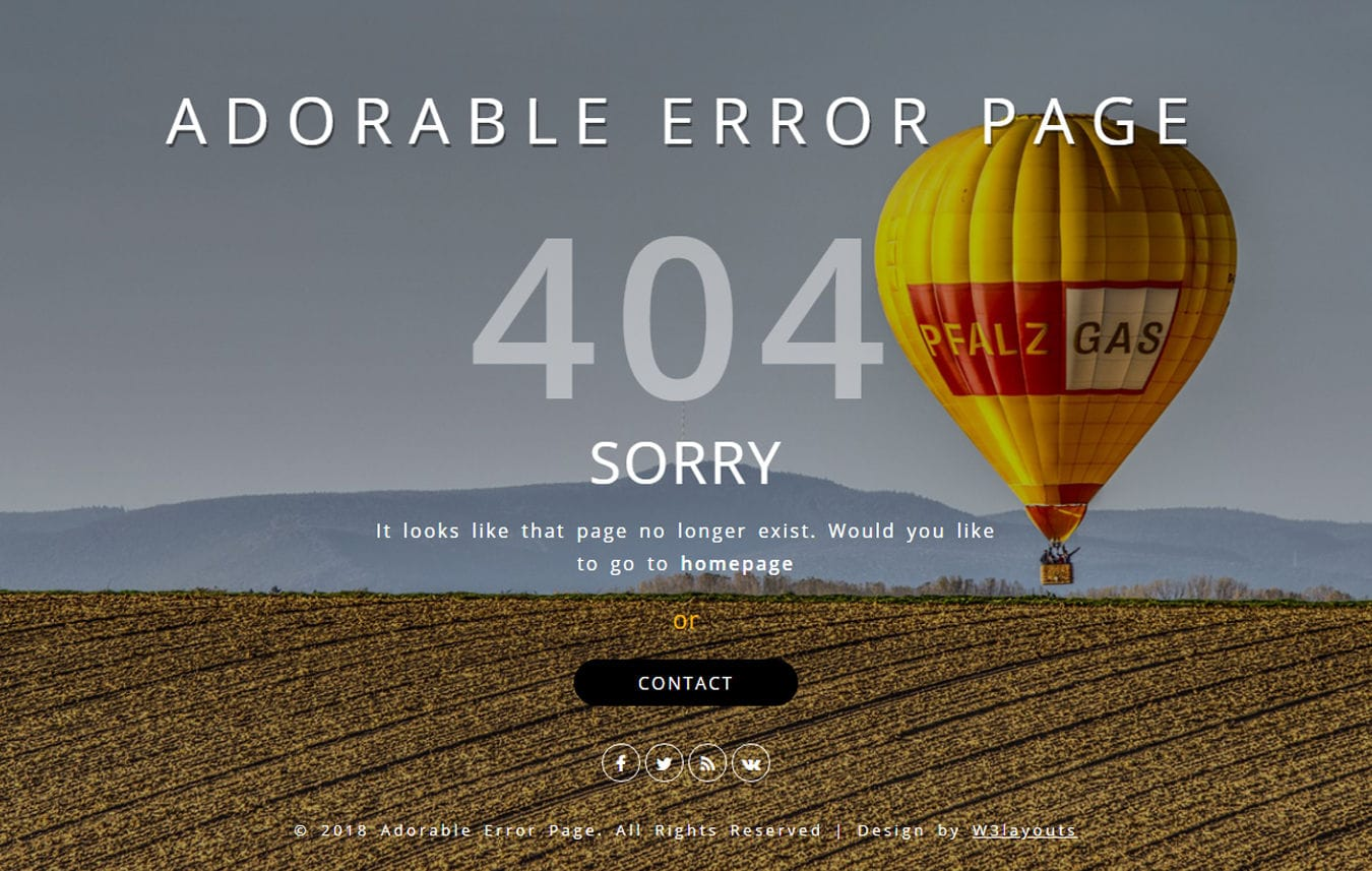 Adorable Error Page Flat Responsive Widget Template Mobile website template Free