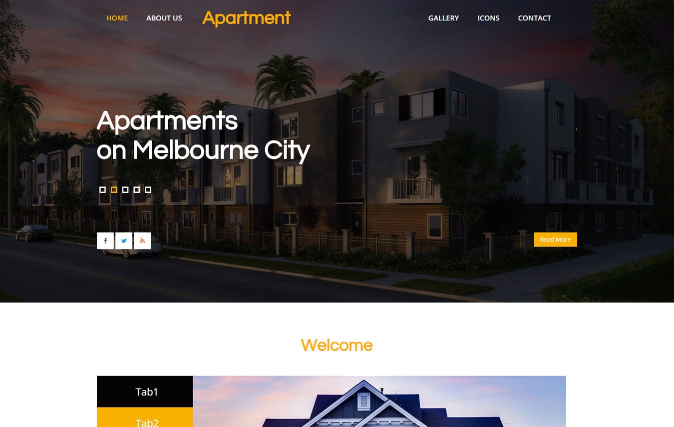 Apartment a Real Estate Category Bootstrap Web Template Mobile website template Free