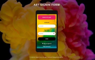 Art Sign in Form Flat Responsive Widget Template