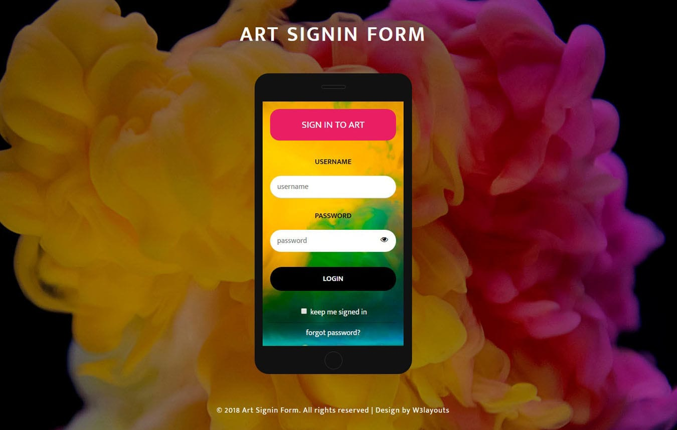 Art Sign in Form Flat Responsive Widget Template Mobile website template Free