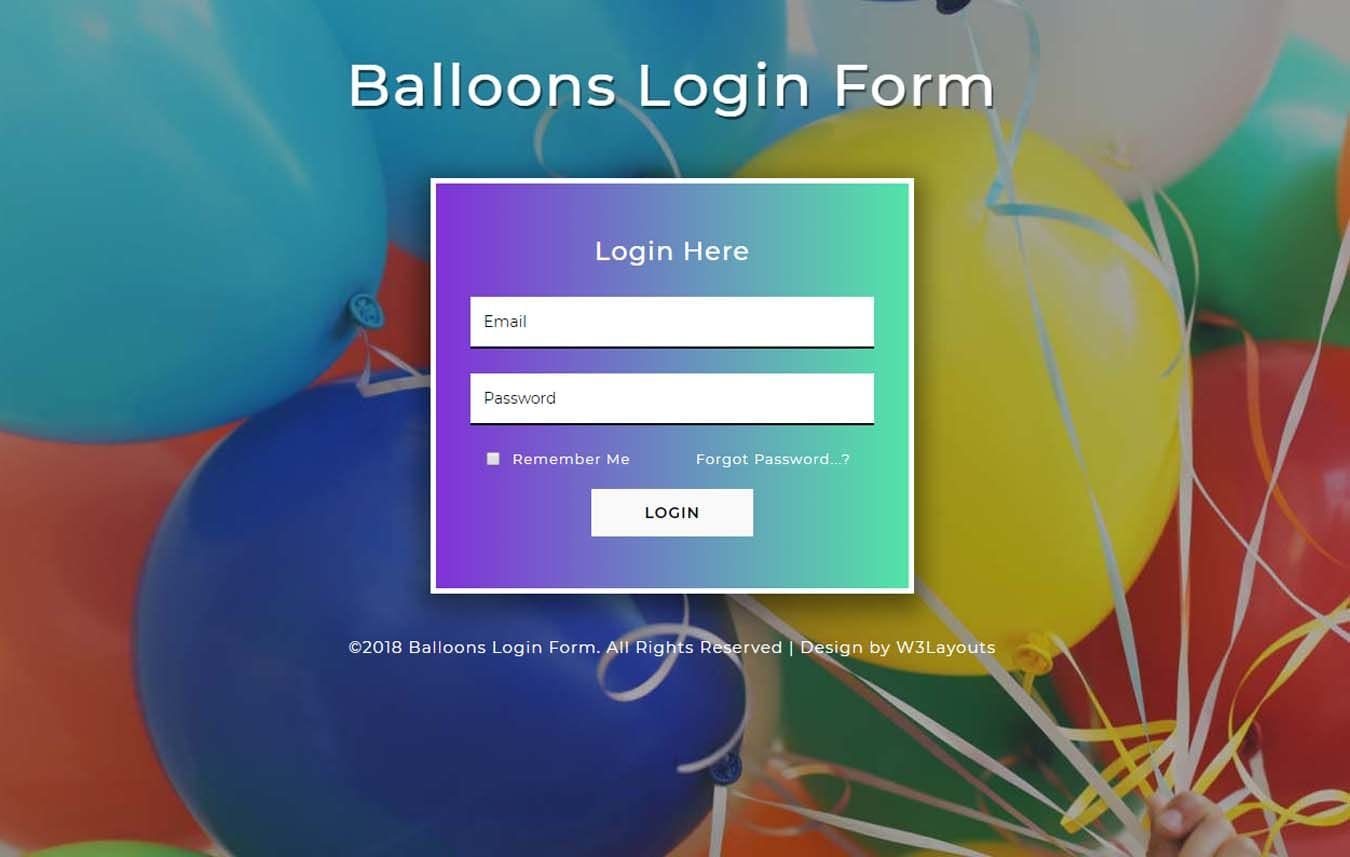 Balloons Login Form a Flat Responsive Widget Template Mobile website template Free
