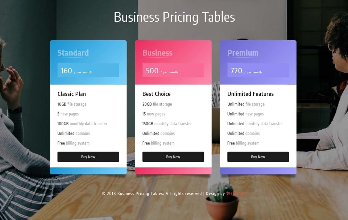 Business Pricing Tables Responsive Widget Template Mobile website template Free