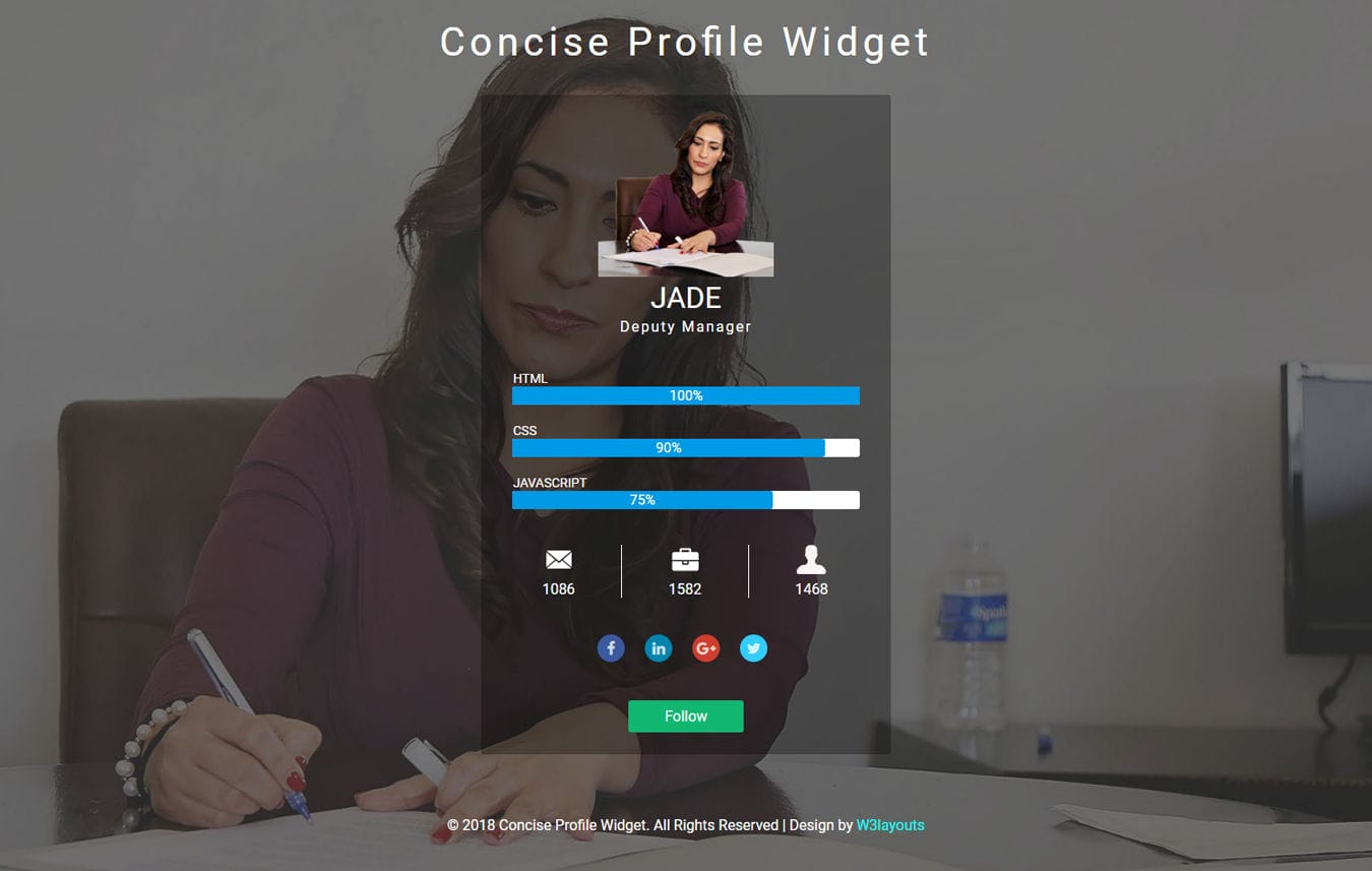 Concise Profile Widget Responsive Widget Template Mobile website template Free