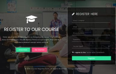 Course Register Form a Flat Responsive Widget Template