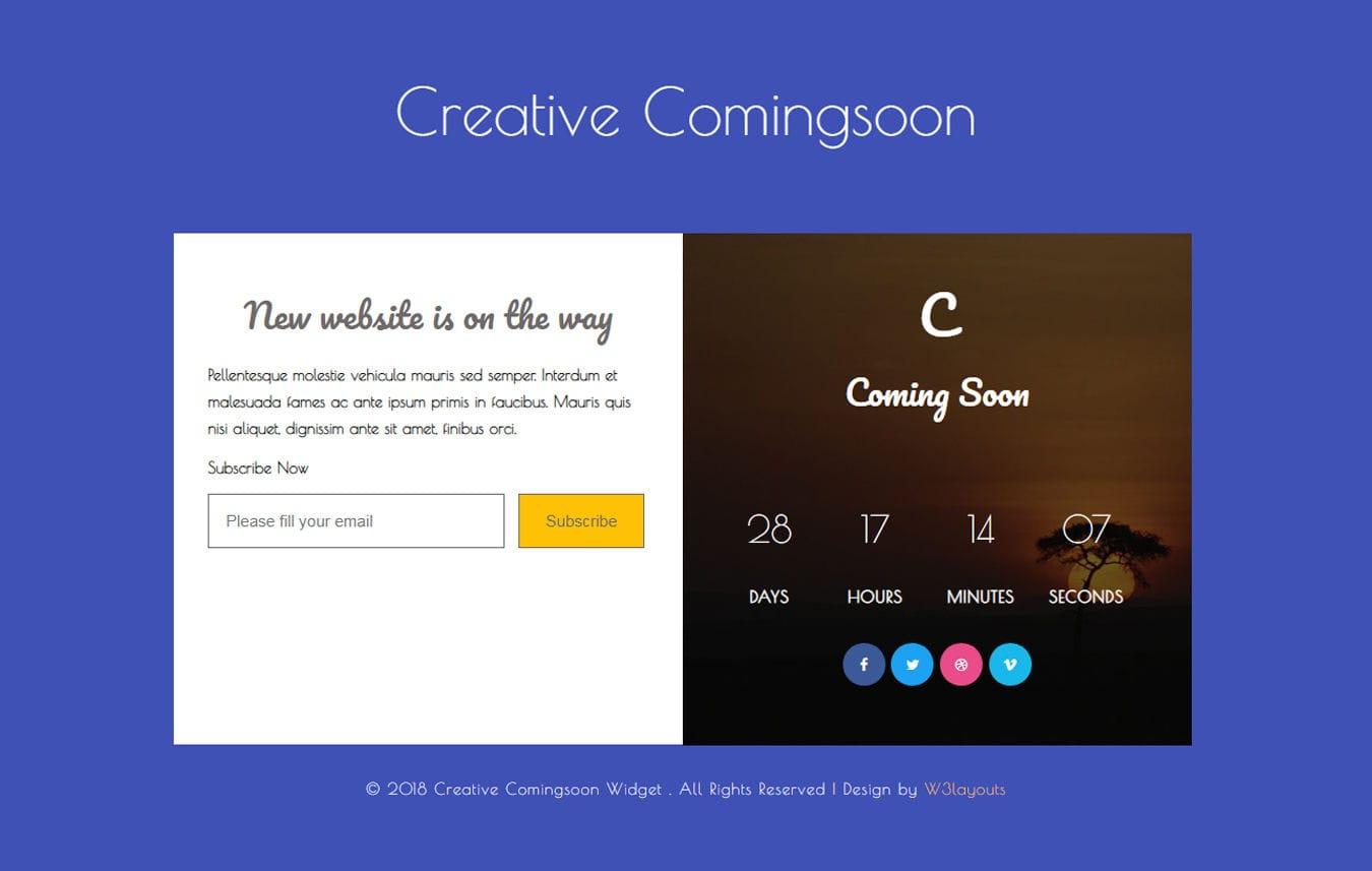 Creative Coming Soon Flat Responsive Widget Template