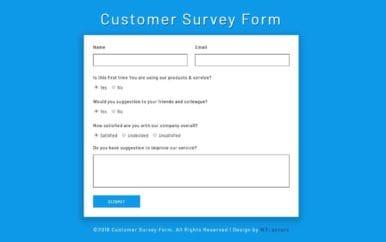 Customer Survey Form a Flat Responsive Widget Template