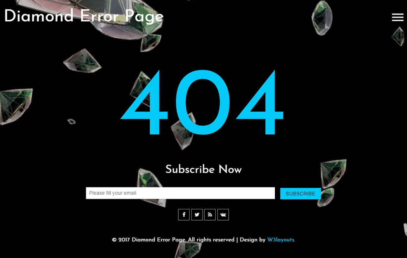 Diamond Error Page a Flat Responsive Widget Template Mobile website template Free