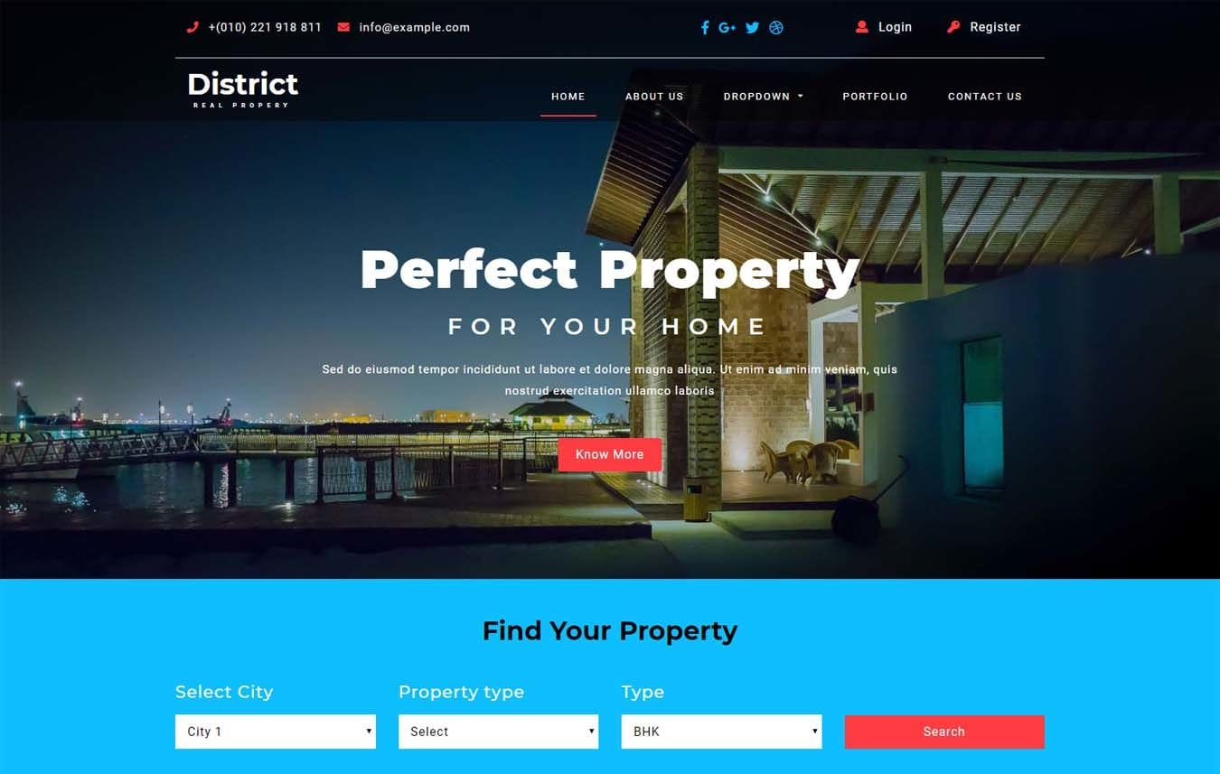 District – Real Estates Category Bootstrap Responsive Web Template Mobile website template Free
