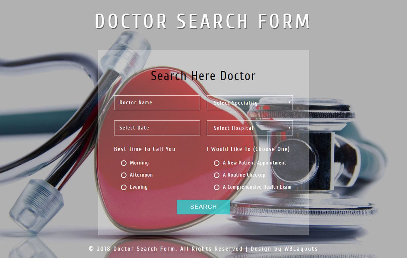 Doctor Search Form Flat Responsive Widget Template