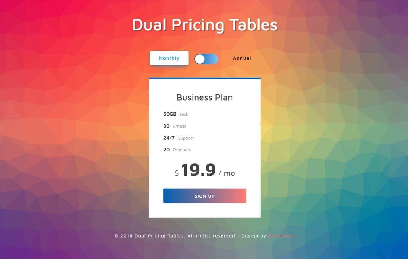 Dual Pricing Tables Responsive Widget Template