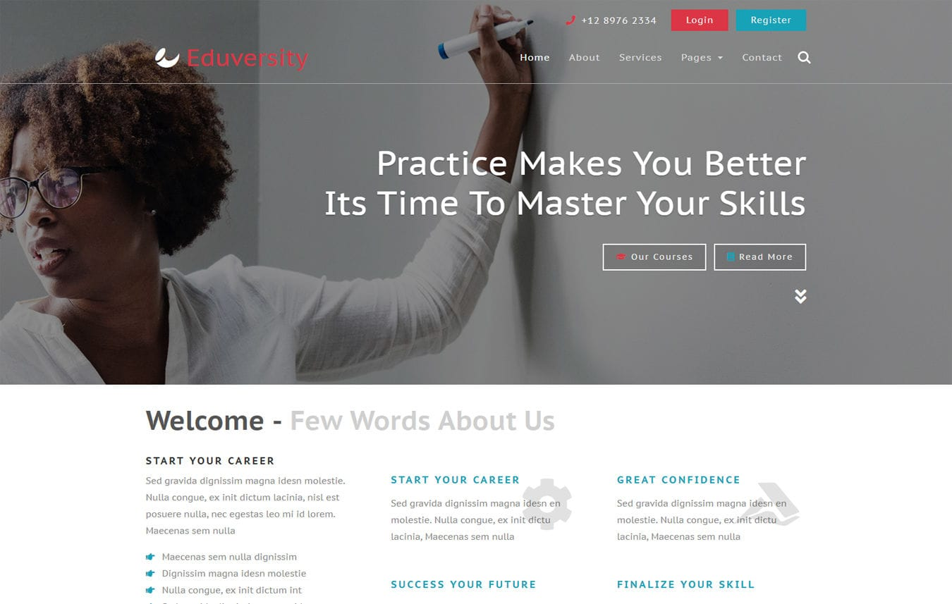 Eduversity Education Category Bootstrap Responsive Web Template. Mobile website template Free