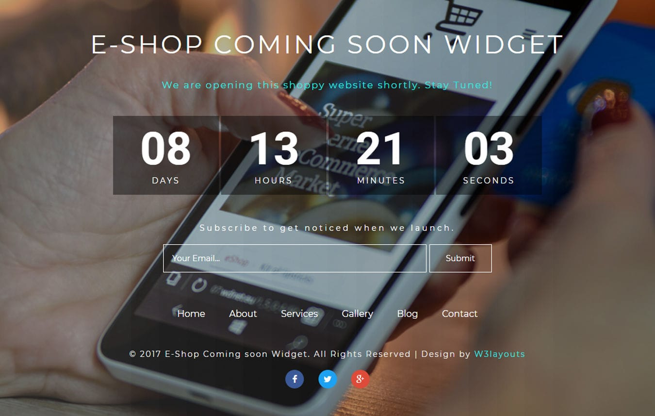 Shop Coming Soon Flat Responsive Widget Template